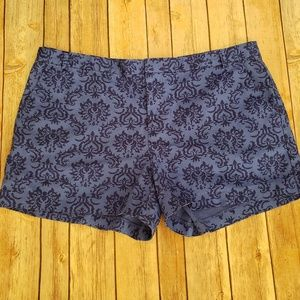 Gap 10 Bright Blue Damask Cotton Shorts EUC